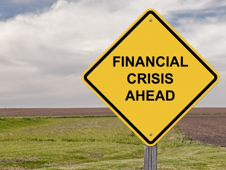 financial cliff: Caution Sign - Financial Crisis Ahead Stock Photo