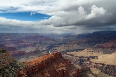 hopi: The Grand Canyon Viewed From Hopi Point Just Before A Snow Storm Blew In Stock Photo