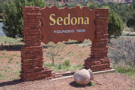 Sedona Arizona Welcome Sign Stock Photo