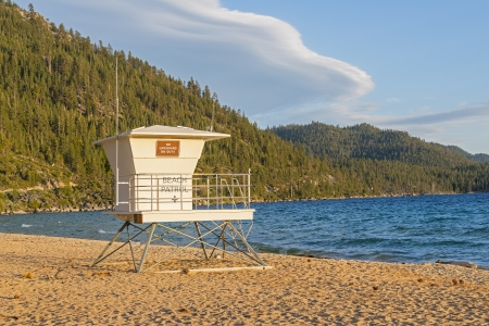 Lifeguard Station At Sand Harbor Beach On Lake Tahoe During Sunset photo