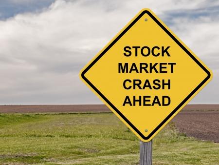 Stock Market Crash Ahead - Caution Sign Stock Photo - 20035929
