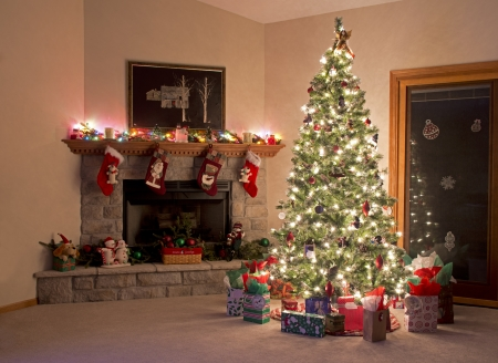 fireplace: Christmas Tree   Fireplace Decorations