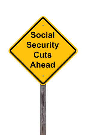 Caution Sign - Social Security Cuts Ahead On White photo