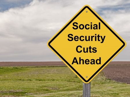 seguridad social: Muestra de la precaución - Seguridad Social recorta Ahead Foto de archivo