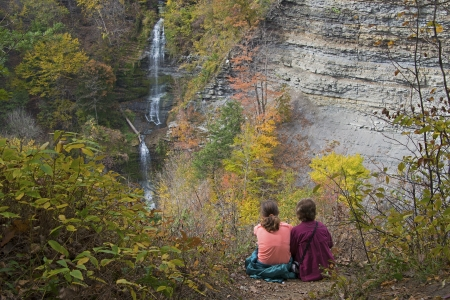 Grandmother and Granddaughter enjoying the view at Letchworth State Park In New York