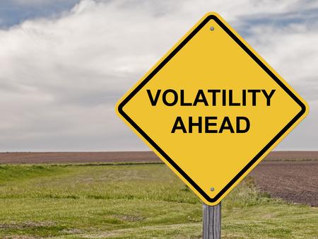 dow: Caution Sign - Volatility Ahead Stock Photo