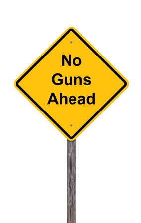 Caution Sign Isolated On White - No Guns Ahead photo