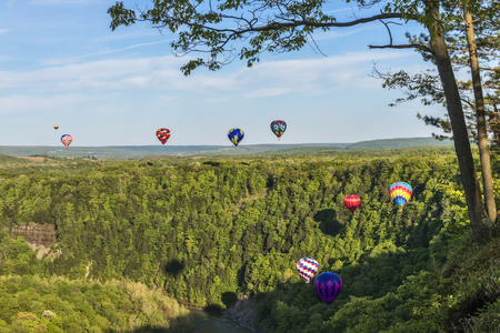 Hot Air Balloons Flying Down The Gorge At Letchworth State Park In New York