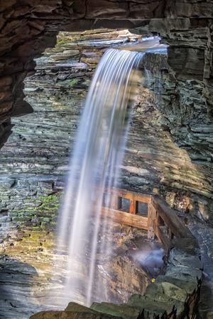 seneca: Cavern Falls At Watkins Glen State Park In New York At Sunrise