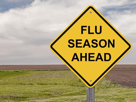 Caution Sign - Flu Season Ahead Stockfoto