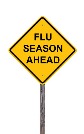 Caution Sign Isolated On White - Flu Season Ahead