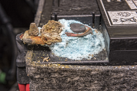 corroded: Blue Mold Forming On A Car Battery Post.