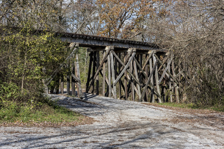 wood railroad: Old Railroad Trestle At Ozone Falls In Tennessee Stock Photo
