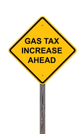 high price of oil: Caution Sign Isolated On White - Gas Tax Increase Ahead Stock Photo