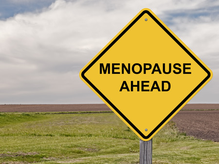 Caution Sign - Menopause Ahead Stock Photo