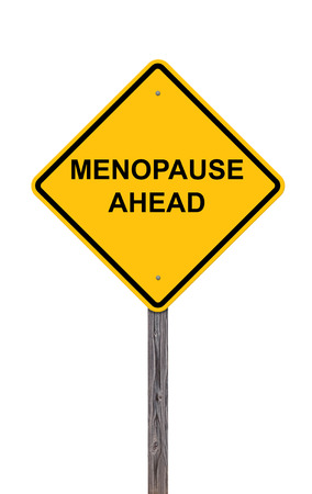 Caution Sign Isolated On White - Menopause Ahead Stock Photo