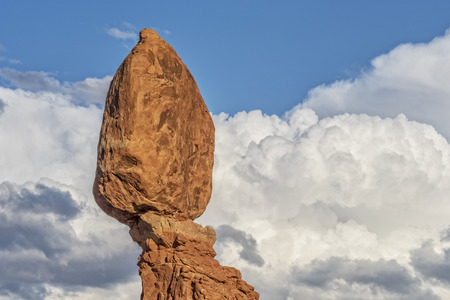 Balanced Rock During Sunset At Arches National Park In Utah - Copy Space To The Right