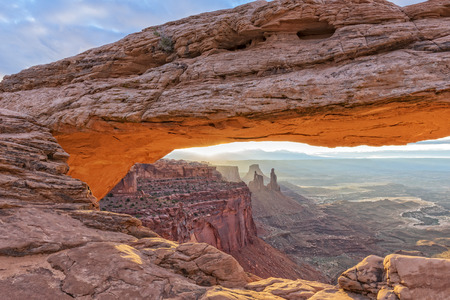 canyonland: Mesa Arch In Canyonland During Sunrise Stock Photo