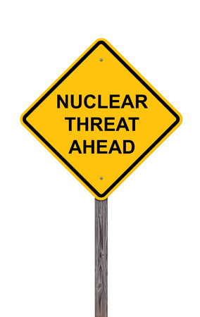 Caution Sign Isolated On White - Nuclear Threat Ahead Stock Photo