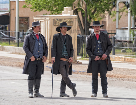 virgil: TOMBSTONE , ARIZONA - May 11 : Actors take part in the Re-enactment of the OK Corral gunfight in Tombstone , Arizona on May 11, 2015.