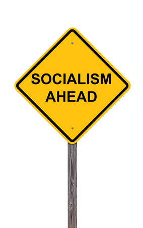 socialism: Caution Sign Isolated On White - Socialism Ahead Stock Photo