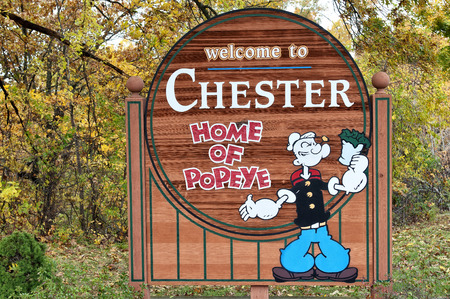 CHESTER ILLINOIS OCT. 23: Sign entering the town of Chester, Illinois, Oct 23, 2009.  Chester is known as the home of Popeye.
