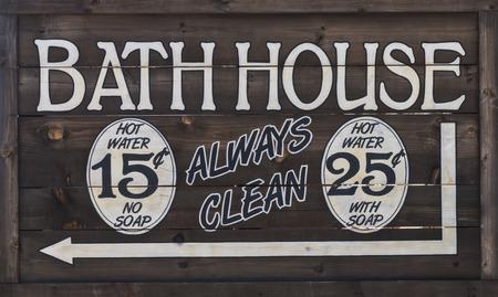 bathhouse: Old West Bathhouse Sign