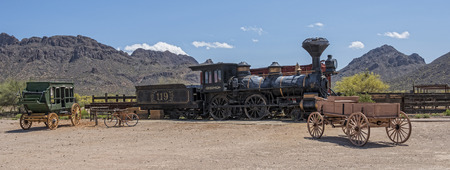 tucson: Old Western Train And Stage Coach Outside Of Tucson Arizona Stock Photo