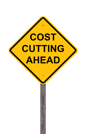 cutback: Caution Sign Isolated On White - Cost Cutting Ahead Stock Photo
