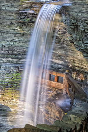 cascade: Cavern Falls At Watkins Glen State Park In New York At Sunrise