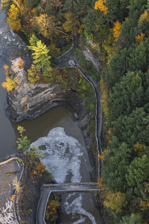 Aerial View Of The Crossing Bridge Near The Lower Falls At Letchworth State Park In New York