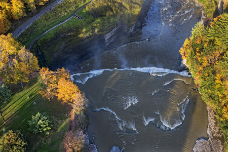 gorge: Aerial View Of The Middle Falls At Letchworth State Park In New York
