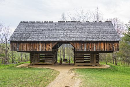 homesteads: Double- Cantilever Barn at the Tipton Place in Cades Cove at the Smoky Mountain National Park