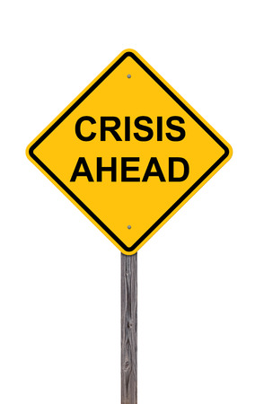 risks ahead: Caution Sign Isolated On White - Crisis Ahead Stock Photo