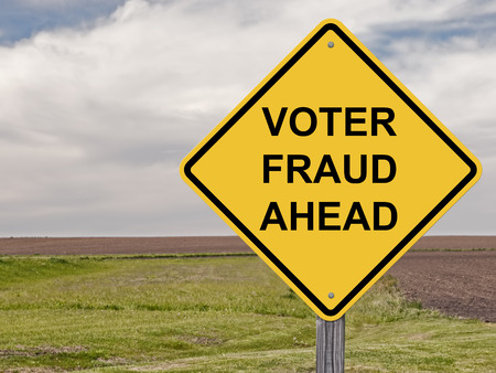 Caution Sign - Voter Fraud Stock Photo