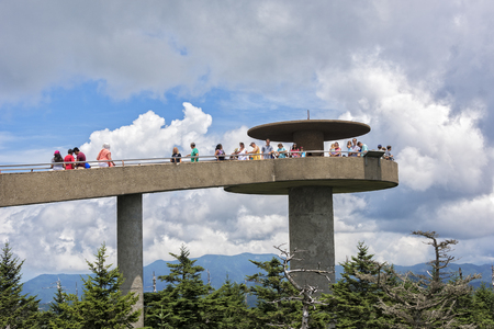 great smokies: CLINGMANS DOME GREAT SMOKY MOUNTAIN NATIONAL PARK JULY 14: Clingmans Dome On July 14, 2016 Is A Overlook In The Smoky Mountain National Park In Bryson City NC