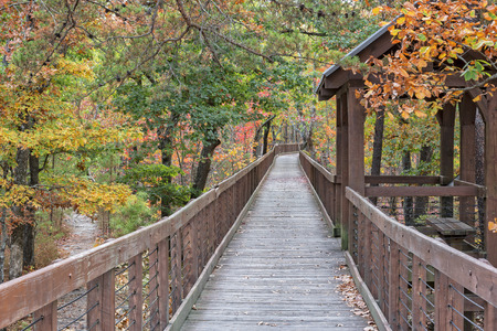 autumn colour: The Walkway Going Out To Bald Rock Overlook At Cheaha Mountain State Park In Alabama