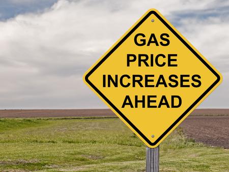incremento: Muestra de la precaución - Aumenta precio de la gasolina Ahead