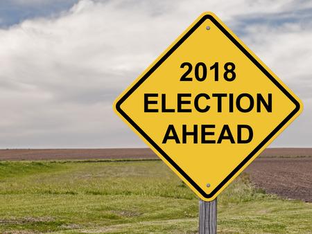 Caution Sign - 2018 Election Ahead 免版税图像