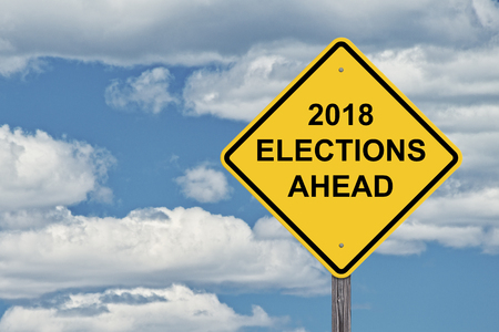 Caution Sign Blue Sky Background - 2018 Election Ahead 版權商用圖片