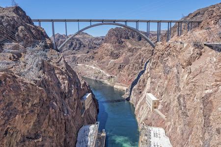 hoover dam: The Mike OCallaghan - Pat Tillman Memorial Bridge Viewed From Hoover Dam Stock Photo