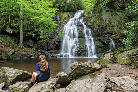 Young Woman Viewing Spruce Flats Falls In The Smoky Mountain, Tremont Tennessee
