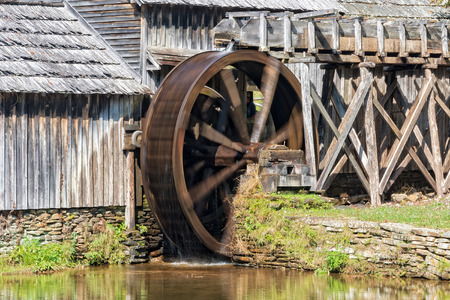 Water Wheel On Mabry Mill Along The Blue Ridge Parkway In Virginia 版權商用圖片