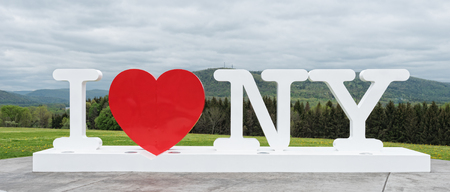 CORBETTSVILLE, NY - MAY 16, 2018: I Love NY sign at the New York Southern Tier Welcome Center