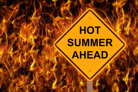 Hot Summer Ahead Caution Sign With Flaming Background