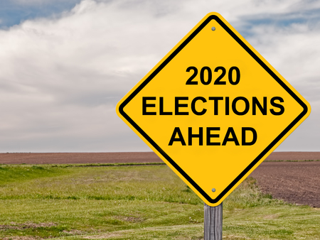 2020 Elections Ahead Caution Sign Banque d'images