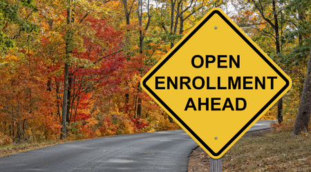 Open Enrollment Caution Sign With Autumn Road Background Stock fotó