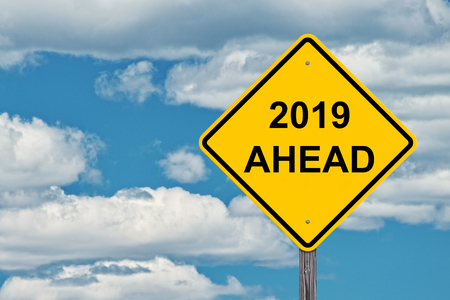 2019 Ahead Caution Sign With Blue Sky Background