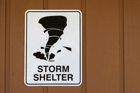 Storm Shelter Sign For Tornados 免版税图像