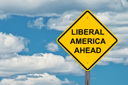 Liberal America Ahead Caution Sign With Blue Sky Background Stok Fotoğraf